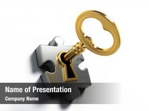 Puzzle golden key white
