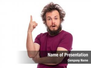 Bearded portrait surprised man pointing