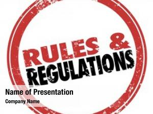 Words rules regulations red stamp