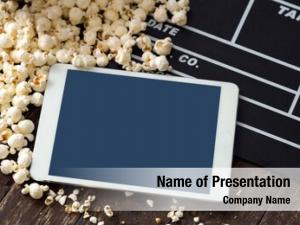 Fresh cinema concept  popcorn, clapper,