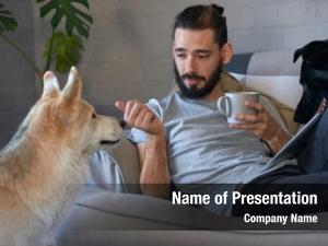 Talking pet owner his pet