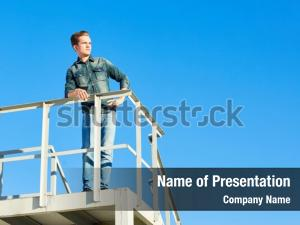 Construction young man in denim