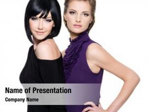 Glamour portrait beautiful women standing