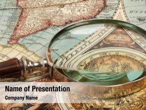 Ancient magnifying glass old map