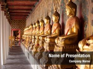 Buddha row golden thailand
