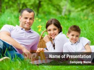 Three happy family has picnic