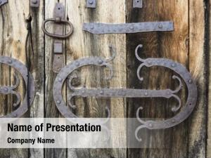Plank decorated iron door handle