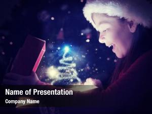 Opening little girl magical christmas