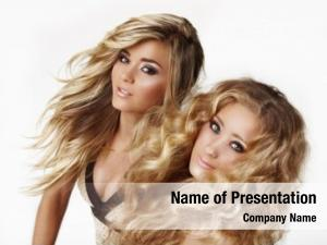 Blond two beautiful woman sisters