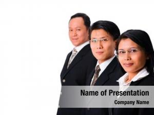 Along one businesswoman two businessman,