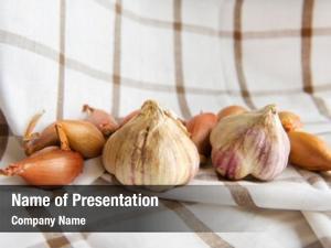 Rural garlic onions still life
