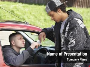 Dealing young man drugs car