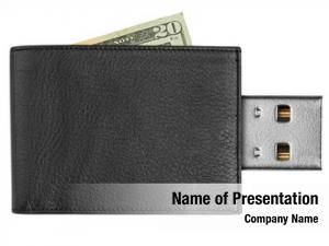 Wallet black leather usb connector,