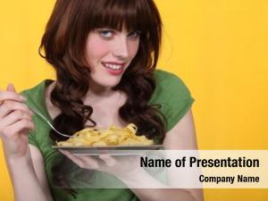 Pasta woman eating