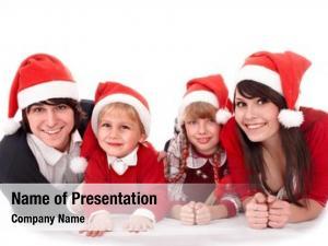 Children happy family santa hat