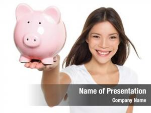 Savings piggy bank woman smiling