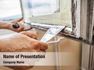 Frame repairing window  man using