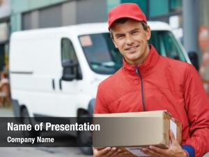 Postal smiling male delivery courier