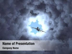 Flies air plane through cloudy