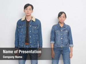 Young portrait fashion couple: woman