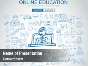 Concept online education business doodle