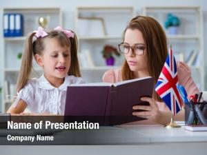 Learning young girl english teacher