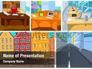 Set vector cartoon cityscapes
