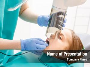 Teeth radiographer taking radiography girl