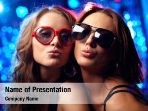 Cool close up portrait girls nightclub