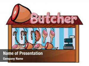 Shop illustration butcher white