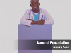 Holding male doctor empty placard