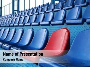 Seats empty plastic stadium, open