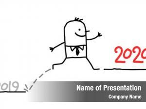 Jumping cartoon businessman 2020 year