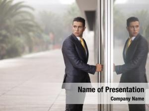 Office businessman open door looking