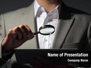 Magnifying businessman holding glass digital