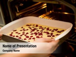 Sponge mixture cherry baking pan