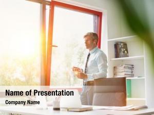 Business portrait senior man holding