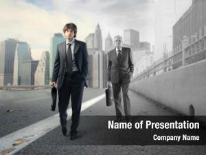 Older young businessman businessman walking