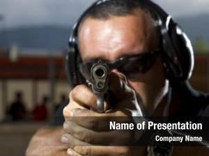 Outdoor man shooting shooting range,