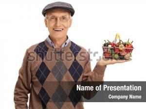 Nutritious happy senior holding
