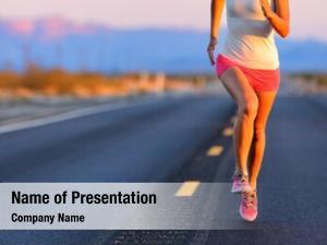 Female road runner athlete running