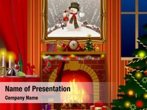 Fireplace, holiday interior gifts decorated