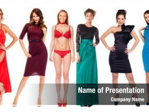 Models collage fashion dress, white