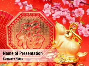 Golden tradition chinese rat statue