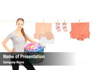 Holding smiling woman laundry basket