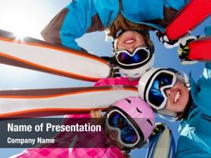 Fun skiing, winter skiers enjoying