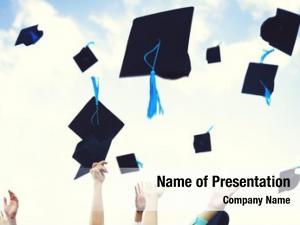 Thrown graduation caps happiness success