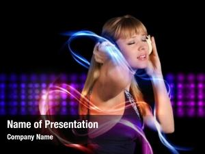 Enthusiastically young girl listens music