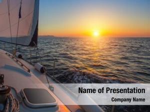 During sailing boat amazing sunset