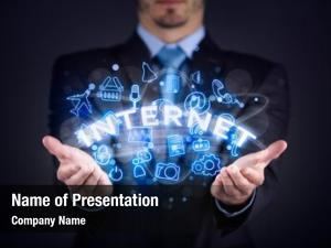 Businessman internet concept, holding internet